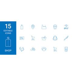 15 shop icons vector