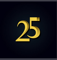 25 years anniversary gold number template design vector