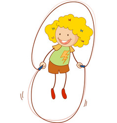 A doodle kid jumping rope cartoon character vector