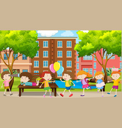 Active kids playing in outdoor scene vector