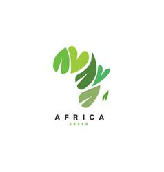 Africa map with leaf logo design vector
