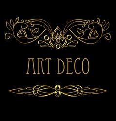 art deco calligraphic golden design elements vector image