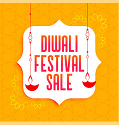 Awesome diwali festival sale banner with hanging vector