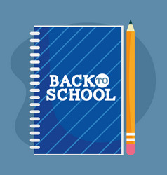 Back to school education notepad and pencil vector