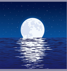 background blue sea and full moon at night vector image