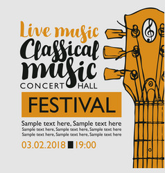 Banner for festival classical music with a guitar vector