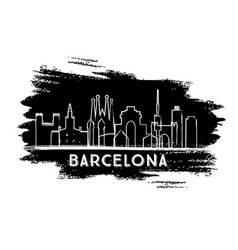 barcelona spain city skyline silhouette hand vector image