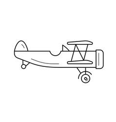 biplane line icon vector image