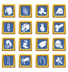 blacksmith tools icons set blue square vector image