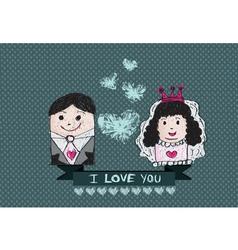 Cartoon hand drawn wedding couple wedding idea des vector image