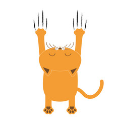 cartoon red orange cat back view red bloody claws vector image