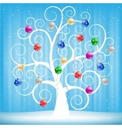 Christmas toys and tree vector