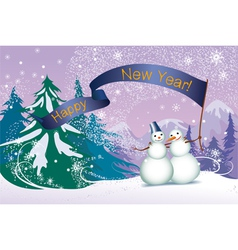 Christmas two snowmans in the forest vector image