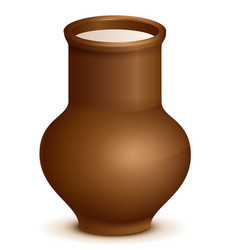 Clay pottery jug pitcher full of milk vector