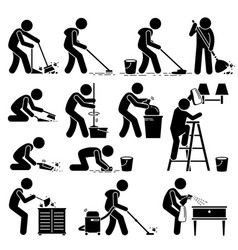Cleaner cleaning and washing house pictogram set vector