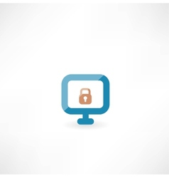 Computer with lock icon vector image