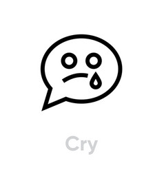 Cry message chat icon editable outline vector