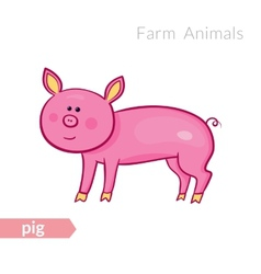 cute cartoon pink pig isolated background in vector image