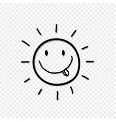 Cute hand drawn smiling sun with tongue out icon i vector