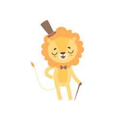 cute lion gentleman wearing top hat and bowtie vector image