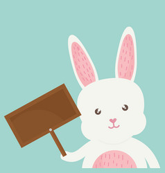 Cute rabbit with wooden label character vector