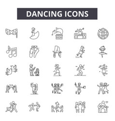 dancing line icons signs set outline vector image
