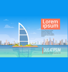 Dubai skyline panorama modern building cityscape vector