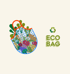 Eco grocery bag and vegetables for ecology concept vector