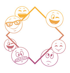 Emoticons frame concept rainbow lines vector