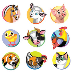 Farm animals icons set two vector