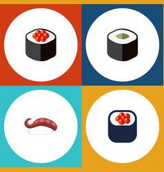 Flat icon sushi set of sashimi salmon rolls vector