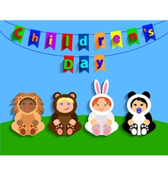 Funny children in animal costumes International vector image