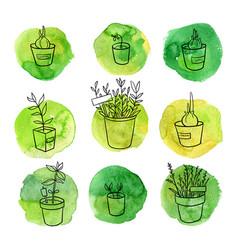 Garden doodle set vector