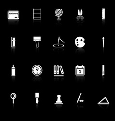 General stationary icons with reflect on black vector
