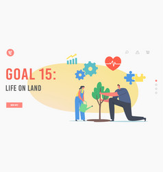 Goal 15 life on land landing page template sdg vector