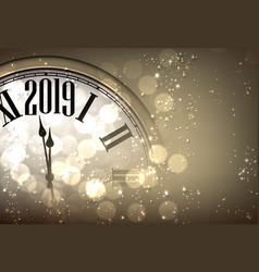 Gold new year 2019 background with blurred clock vector