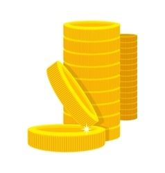 Golden Coins in a Stack in Cartoon Style vector