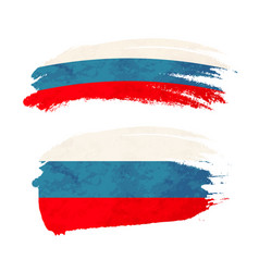 Grunge brush stroke with russia national flag on vector