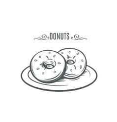 Hand drawn donuts vector image
