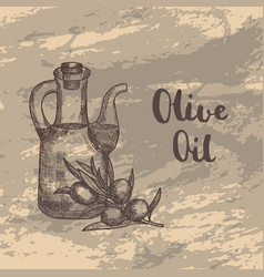 hand drawn olive branche with oil bottle vector image