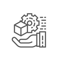 Hand with gear wheel and cube engineering tools vector