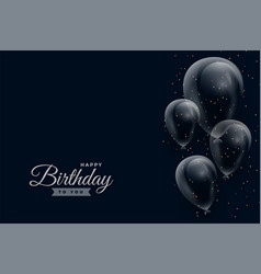 happy birthday dark background with glossy vector image