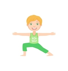 Happy boy doing yoga asana vector