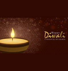 happy diwali festival banner gold holiday candle vector image