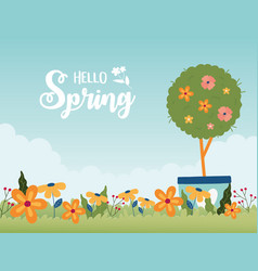 happy spring potted tree flowers garden floral vector image