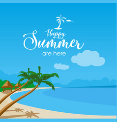 happy summer beach background vector image