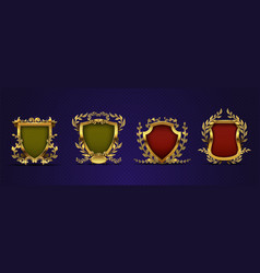 heraldic elements shield laurel wreath royal vector image