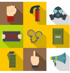 Human protester icon set flat style vector