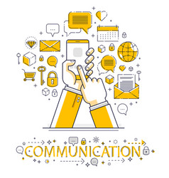 Internet communication and activity man hands vector