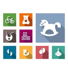 Kid stuff flat icons set vector image vector image